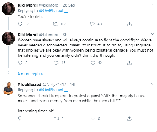 Nigerian women react as a Nigerian man suggests they lead the fight against SARS brutality