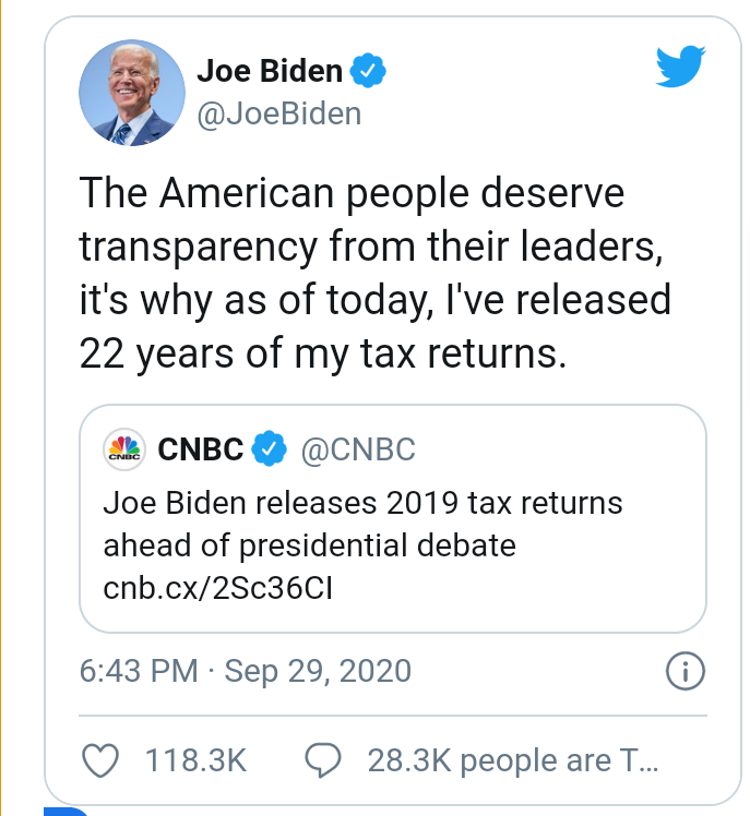US 2020: Joe Biden releases his tax returns hours before presidential debate