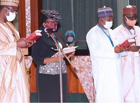 Buhari swears in four new Permanent Secretaries (photos)
