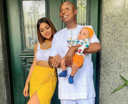 Lovely photos of actress Regina Daniels with her hubby and their son, Munir