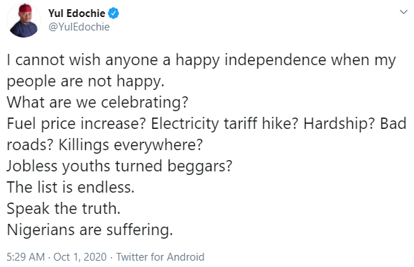 """What are we celebrating?"" Yul Edochie details the hardships Nigerians are currently facing as the country marks 60th Independence Day"