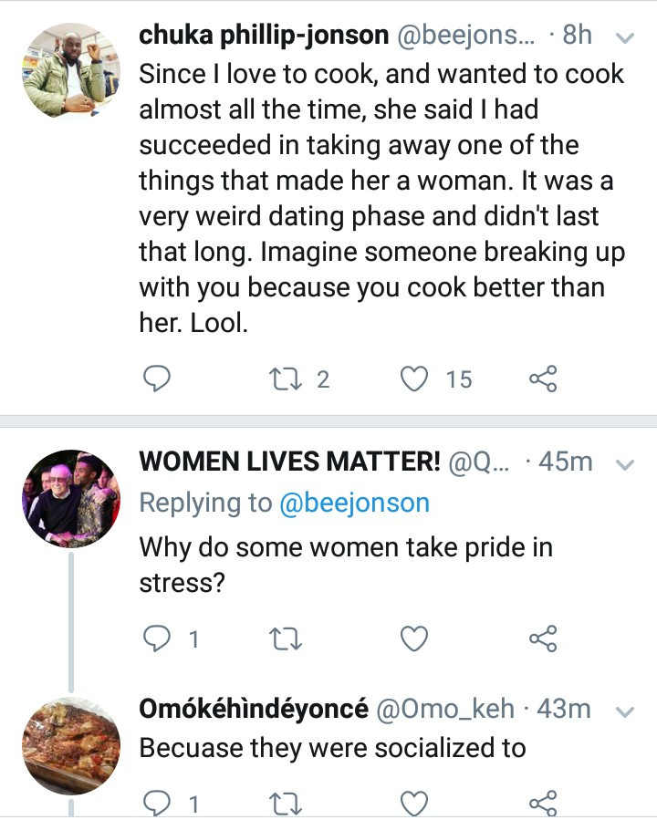 Nigerian poet narrates how his woman broke up with him because he cooks better than her