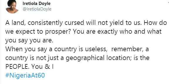 A land consistently cursed will not yield to us - Ireti Doyle tells those always cursing Nigeria