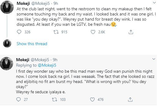 Woman narrates encounter with a lesbian in a club toilet