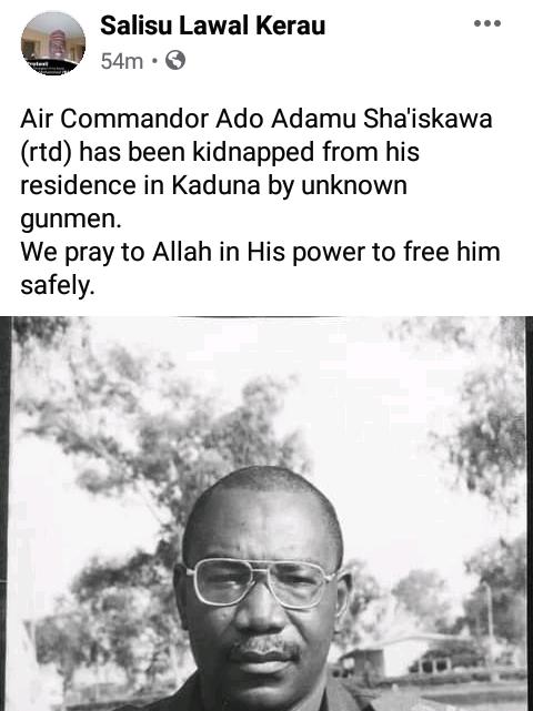 Gunmen kidnap retired Air Commodore in Kaduna