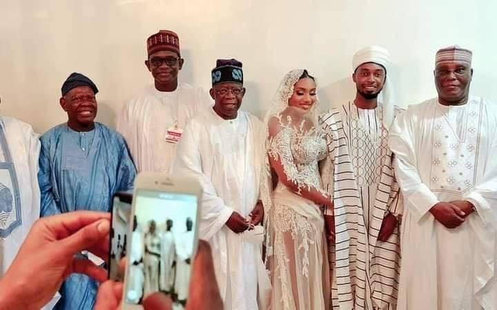 Bola Tinubu and Atiku Abubakar put politics aside as they pose together with newlyweds, Aliyu and Fatima