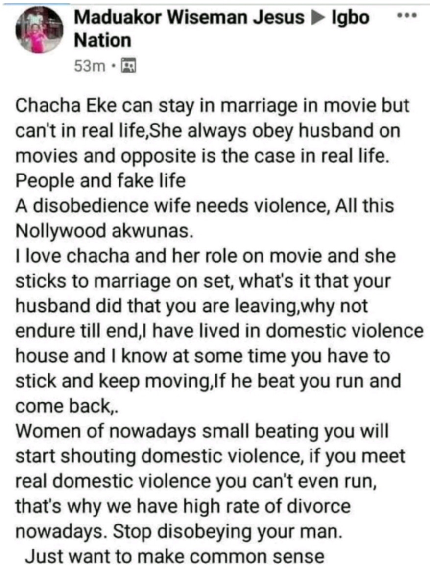 "A disobedient wife needs violence"" - Father of two slams actress Chacha Eke for ending her marriage"