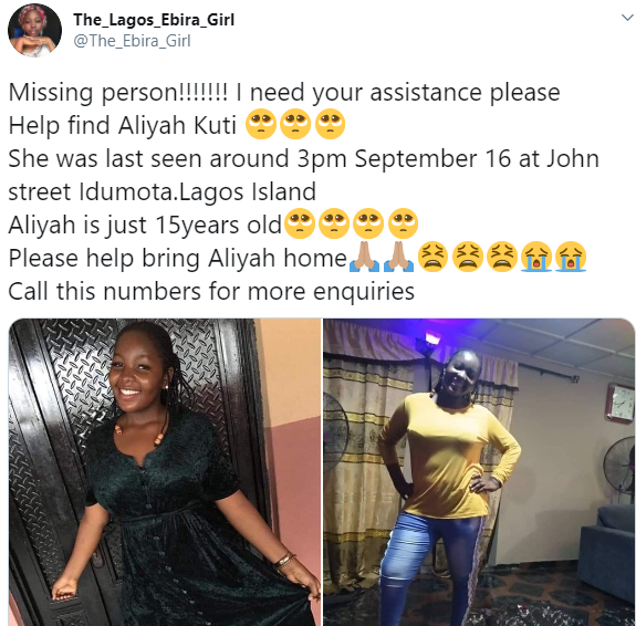 15-year-old girl declared missing in Lagos