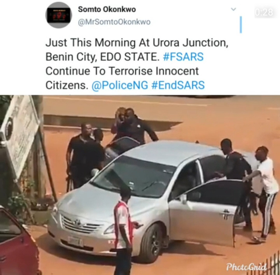 Suspected FSARS officials caught on camera arresting a man in Edo state hours after they were banned by the IGP (video)