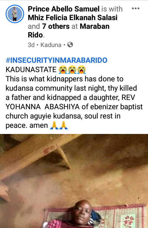 Gunmen allegedly kill pastor, kidnap his daughter in Kaduna