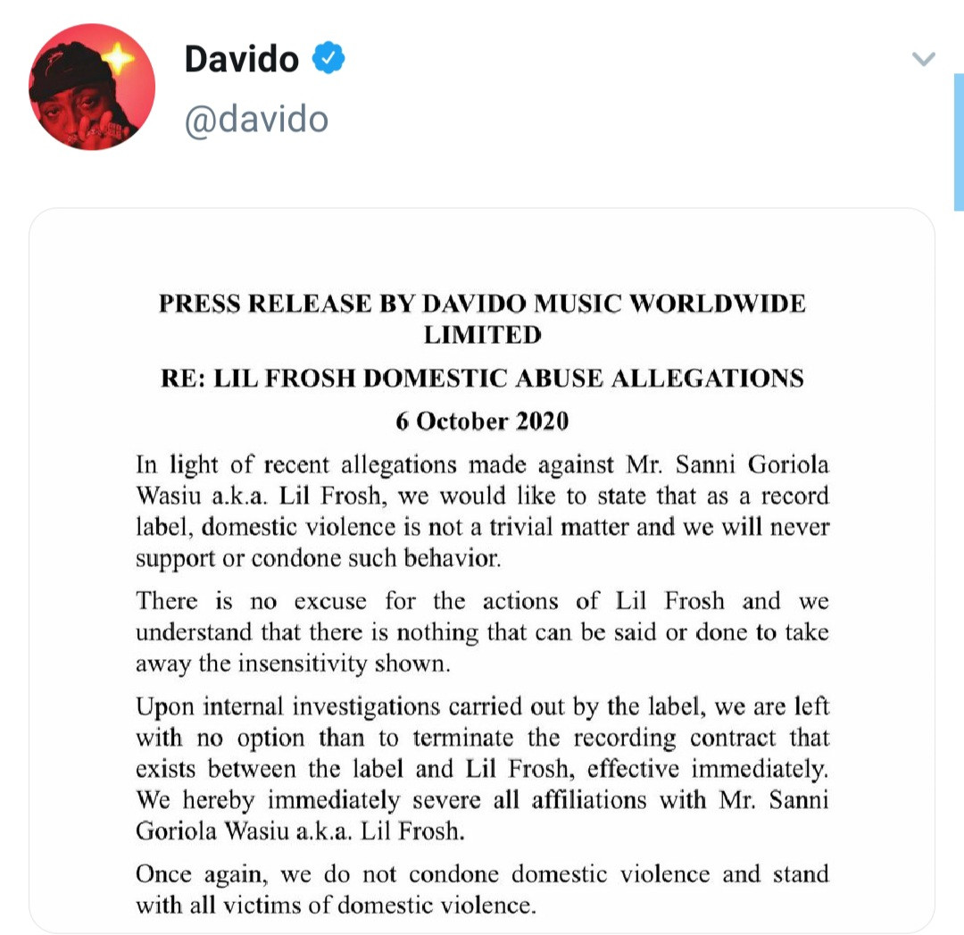 Davido terminates contract with Lil Frosh following reports he assaulted his girlfriend