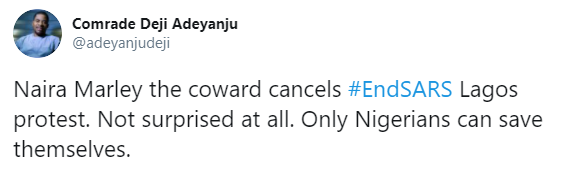 Activist, Deji Adeyanju calls Naira Marley a coward for cancelling his planned #EndSARS brutality protest