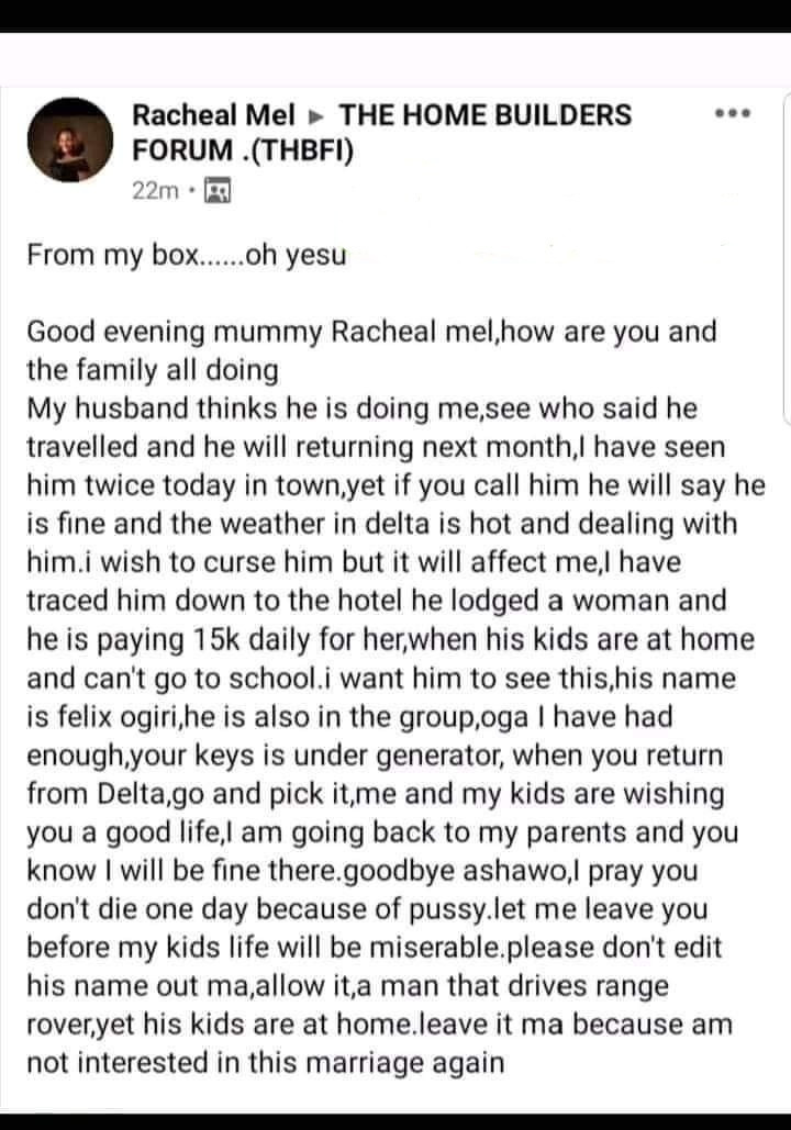 Woman names and shames her husband after he claimed he was travelling to Delta but was lodged in a hotel with another woman