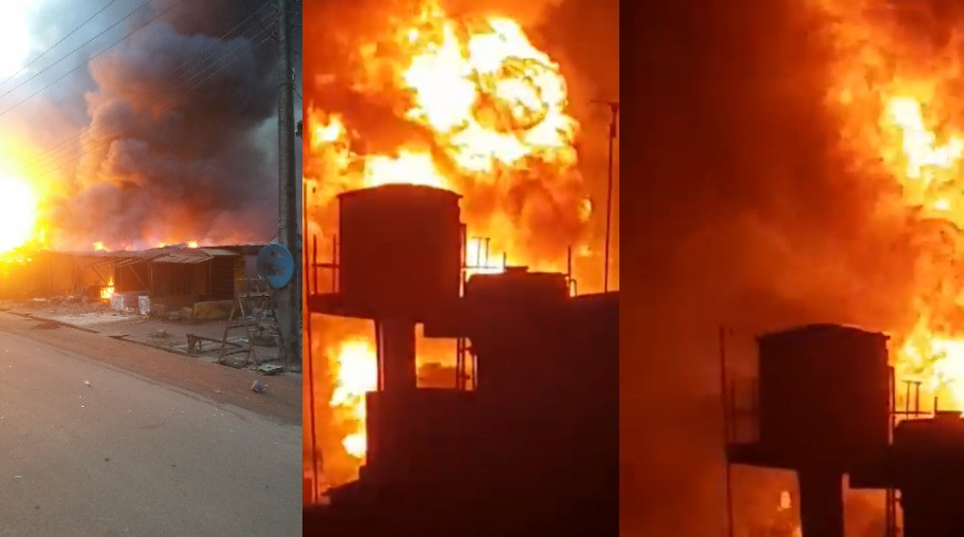 Many properties destroyed as gas station explodes in Lagos (photos/video)