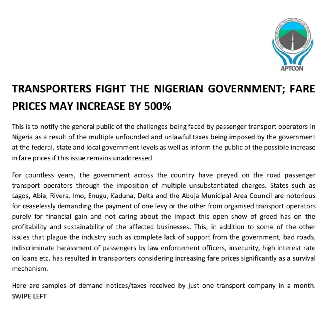 Transporters Fight The Nigerian Government; Fare Prices May Increase by 500%