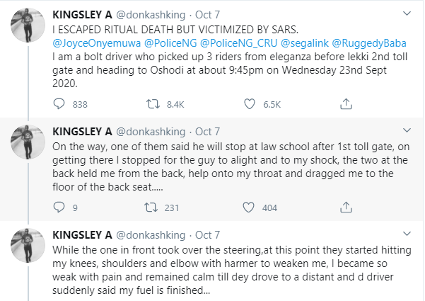 Taxi driver narrates how SARS officer allegedly asked him to mobilize them with N20k after he escaped from ritualists