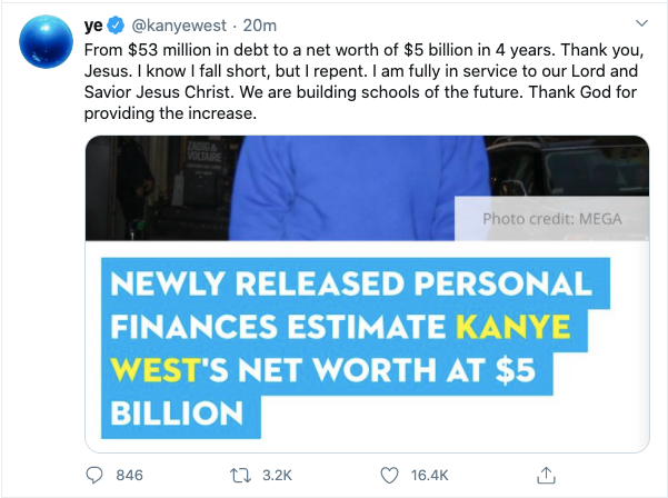 Kanye West celebrates as he claims he now has a net worth of $5billion after falling ?$53 million in debt?