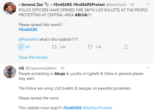 Policemen teargas peaceful #EndSARS protesters in Abuja (video)