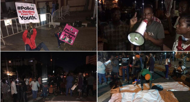 Again, #EndSARS protesters pass the night at Lagos government house lindaikejisblog