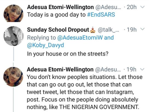 #EndSARS: Let those that can go out go out - Adesua Etomi-Wellington fires back after being queried for protesting from home
