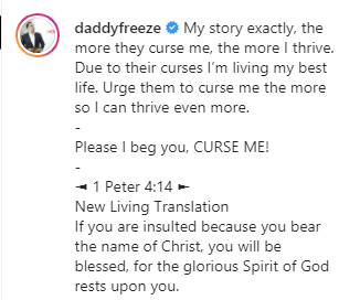 The more they curse me, the more I thrive - Daddy Freeze reacts to story of former CU student who is now successful even after Bishop Oyedepo allegedly cursed him