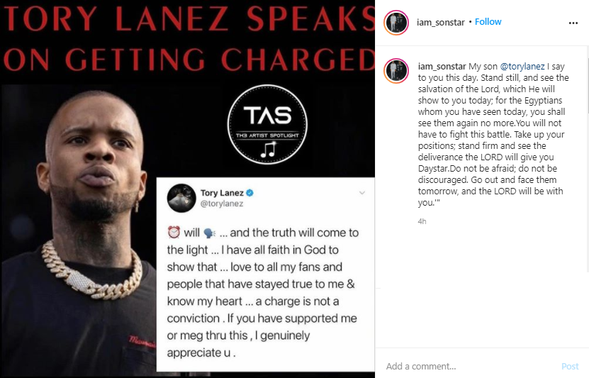 Rapper, Tory Lanez responds to being charged with felony assault in Megan Thee Stallion shooting as his father pens message of support to him?