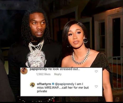 Rapper, Offset says he's stressed and misses Cardi B amid their divorce