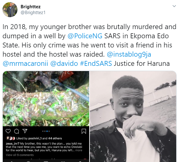 """He was only 21"" Nigerian man shares heart wrenching story of how his brother was allegedly killed by SARS officers in 2018"
