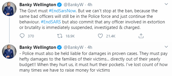 #EndSARS: Erring police officers must be made to pay hefty damages to the families of their victims- Banky W advocates