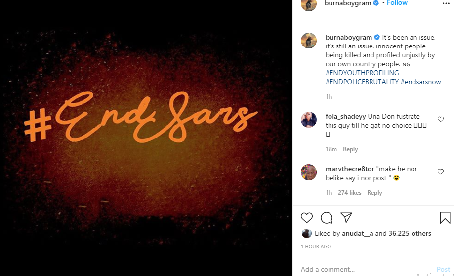 I have always been fighting for Nigerians but not for political validation  - Burna Boy finally reacts to #EndSARS protest