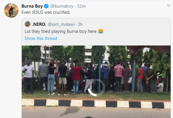 Even Jesus was crucified - Burna Boy reacts after his song was rejected by #EndSARS protesters (video)