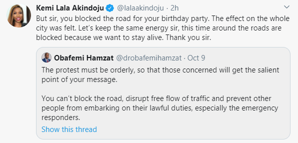 #EndSARS Protest: You blocked the road for your birthday party, we are blocking the roads now to stay alive – Lala Akindoju slams Lagos Deputy Governor