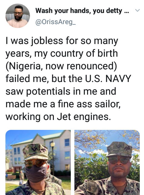 """I was jobless for so many years, my country of birth failed me but U.S. Navy saw potentials in me"" - Navy officer writes after he renounced Nigeria to join U.S Military"