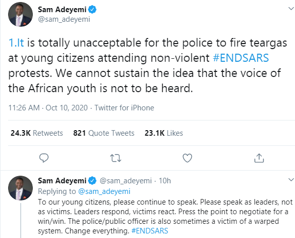It is totally unacceptable for the police to fire teargas at young citizens attending #ENDSARS protests - Pastor Sam Adeyemi