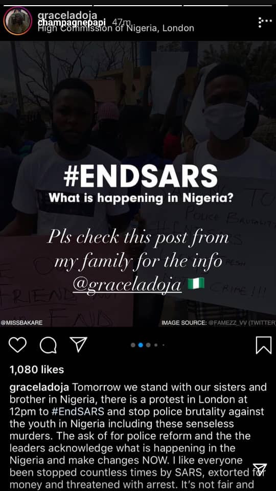 Canadian rapper, Drake joins the #EndSARS campaign?