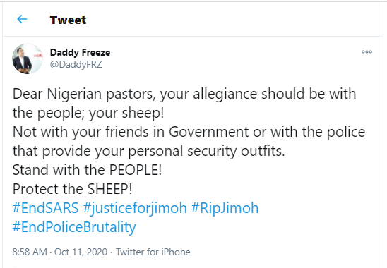 Dear Nigerian pastors, your allegiance should be with the people and not with your friends in Government - Daddy Freeze calls for support from clergymen on #EndSARS campaign
