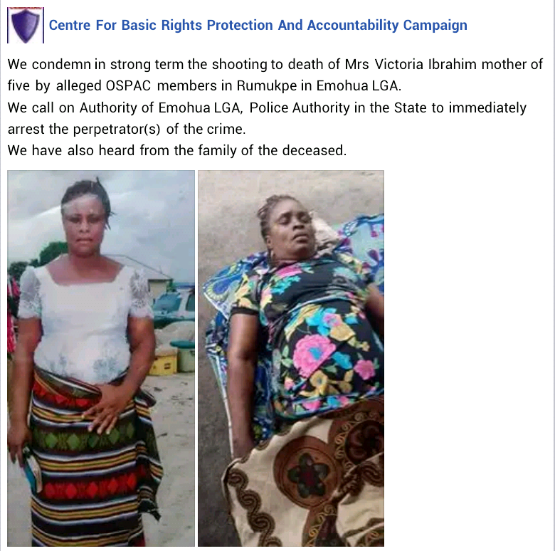 Human rights group condemns OSPAC for allegedly stripping woman naked for stealing cassava in Rivers State and killing mother of 5
