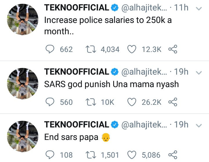 """Increase police salaries to N250k per month"" Tekno suggests after calling on the government to end SARS"