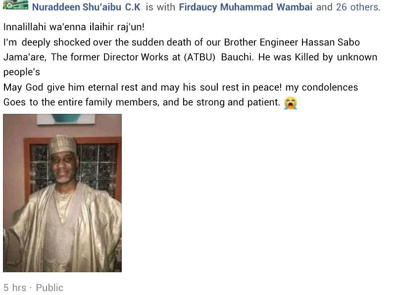 Former ATBU Director of Works shot dead by suspected robbers in Bauchi