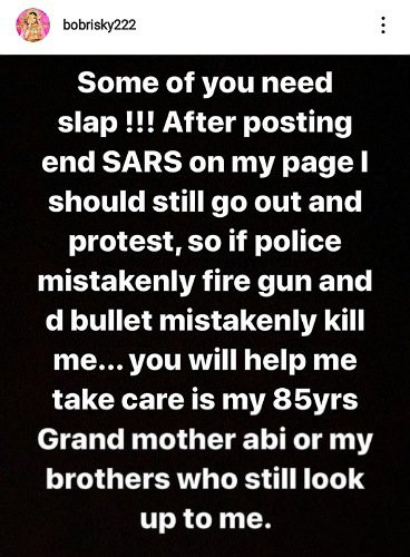 Bobrisky clapsback at Nigerians calling him out for not participating in #EndSARS protest