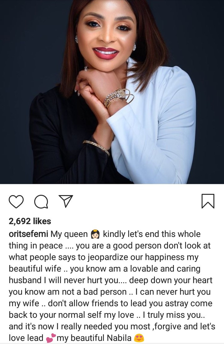 """Don't allow friends lead you astray"""" Oritsefemi continues to plead with his  wife Nabila Fash on Instagram after she moved in with Caroline Danjuna amid  marriage crisis"""