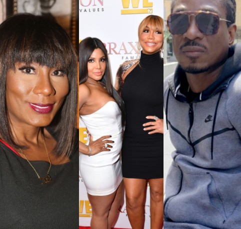 Tamar Braxton reacts as her sisters call David Adefeso out