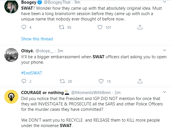 Nigerians reacts as IGP creates SWAT as replacement for SARS