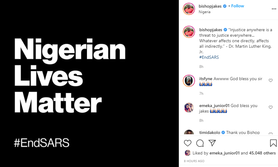 Injustice anywhere is a threat to justice everywhere - Bishop T.D Jakes lends voice to #EndSARS protest
