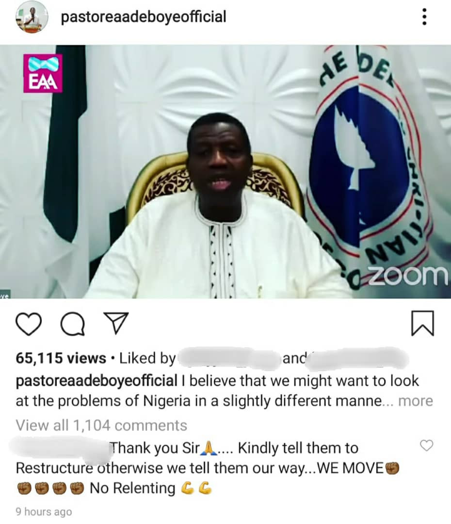 """It is either we restructure Nigeria or we break up""- Pastor Adeboye says as he lends his voice to #Endpolicebrutality campaign (video)"
