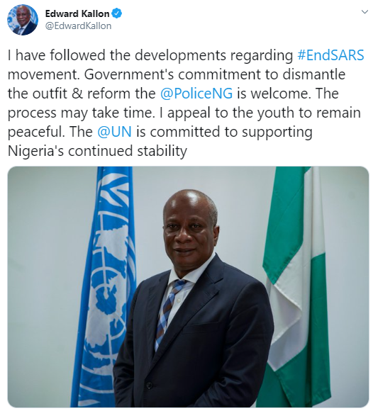 UN Resident Coordinator in Nigeria , Edward Kallon appeals to end SARS protesters to remain calm