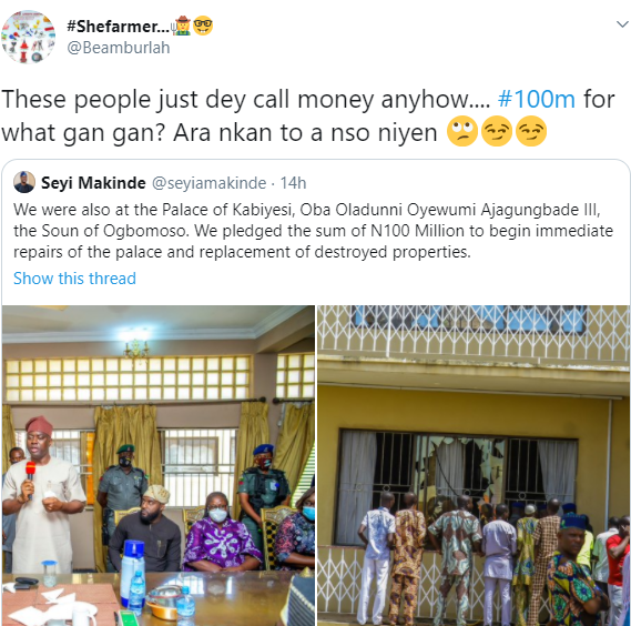Nigerians react as Governor Makinde donates N100m