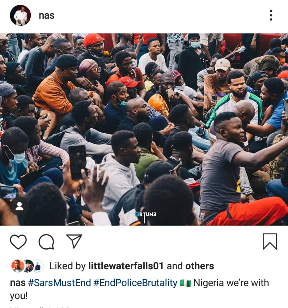 Nigeria we're with you' - Legendary American rapper, Nas reacts to #EndSARS  protests