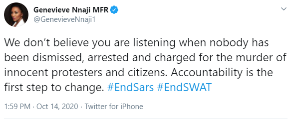 #EndSARS: We don?t believe you are listening when nobody has been arrested and charged for the murder of innocent protesters- Genevieve Nnaji