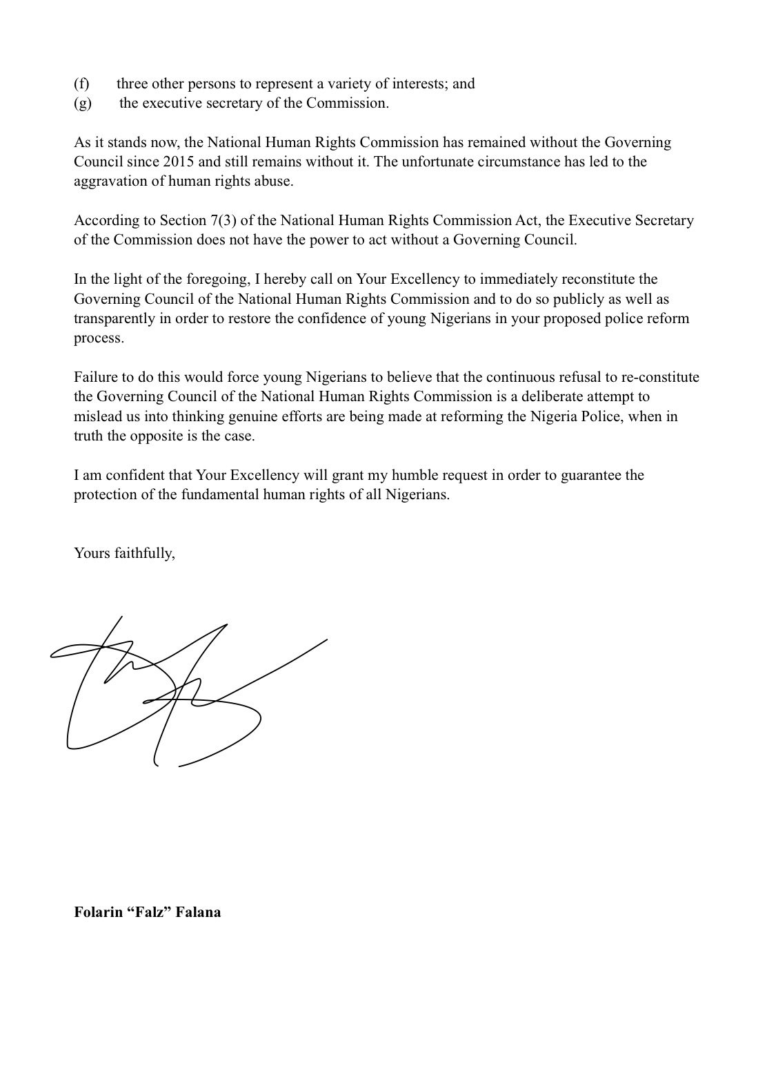 Falz writes letter